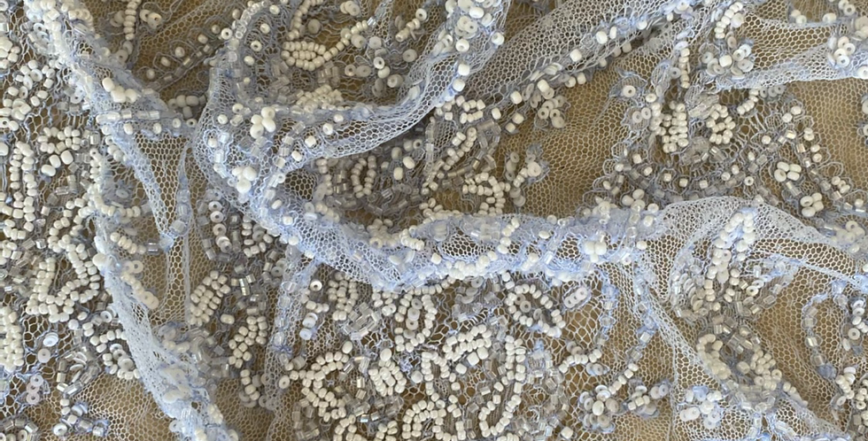 Wedgewood blue beaded lace piece 2