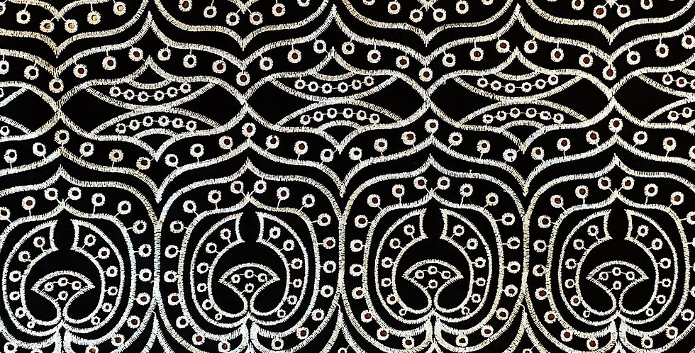 Arabesque Shimmer Black Embroidered Cotton