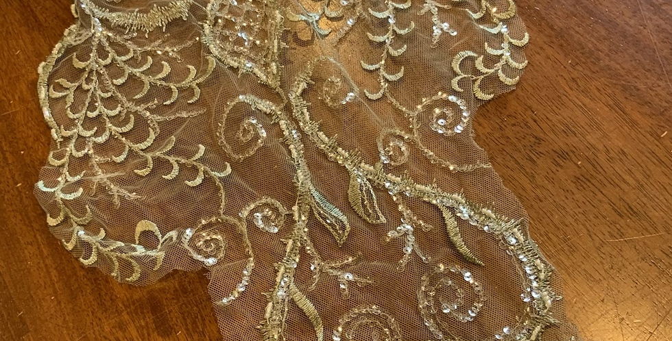 Duck Egg Beaded Lace Off Cut #7023