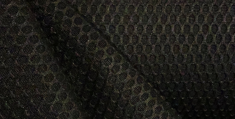 Black Honeycomb Textured Mesh Suiting....