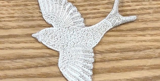 Natural Embroidered Bird Motif