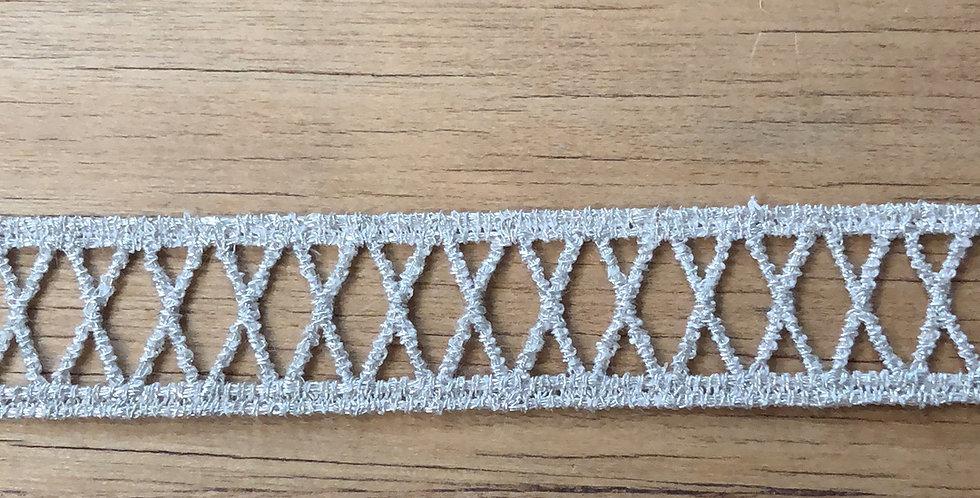 Criss cross metallic champagne trim