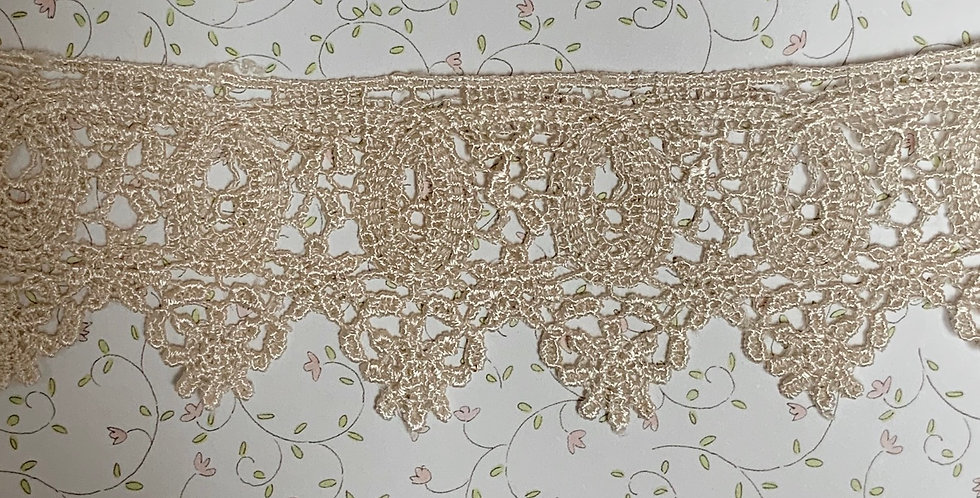 Tea Dyed Rayon Lace Remnant....