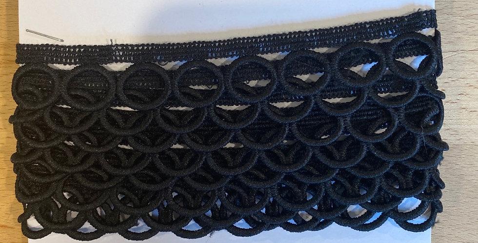 Black designer lace edging remnant