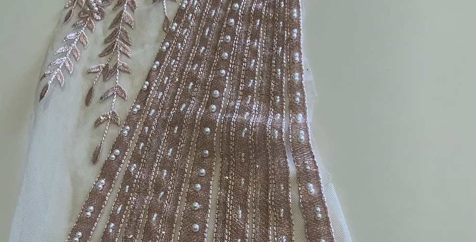 Dusty Pink Hand Dyed Beaded Off Cut #4019