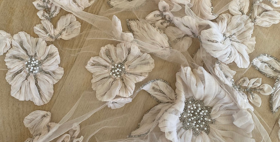 Blush 3D silk flower beaded tulle piece B14