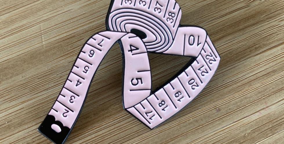 measure up enamel pin pink