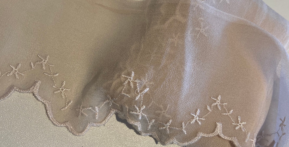 Pale Latte Embroidered Silk Chiffon remnant