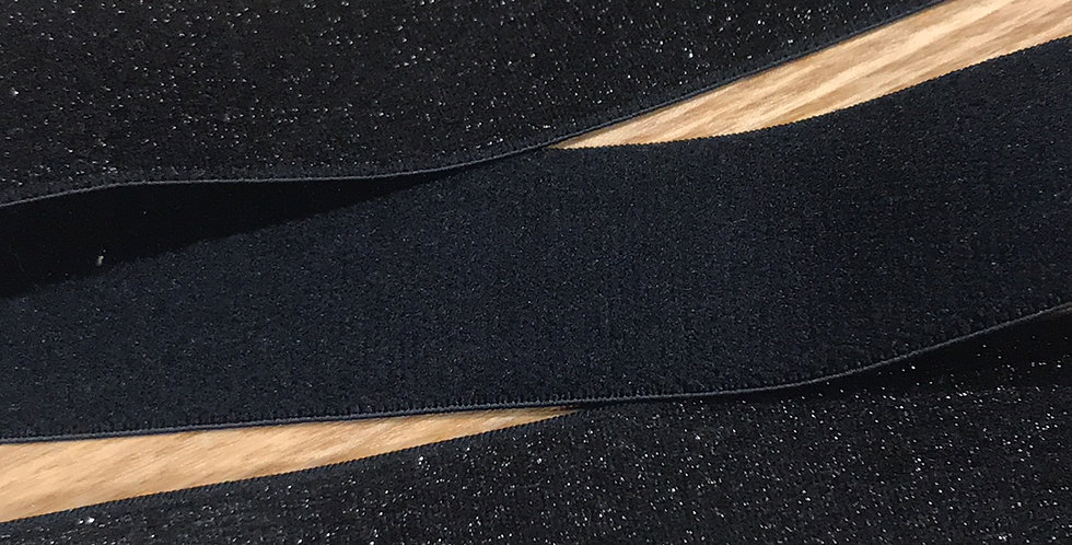 Black glitter plush black elastic