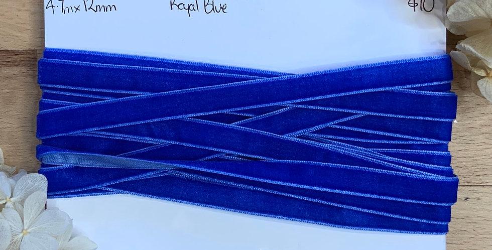4.7mtrs Royal Blue 12mm Velvet Ribbon