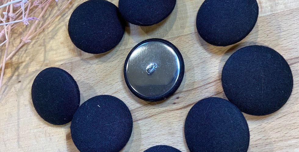 10 Black Fabric Cover Buttons