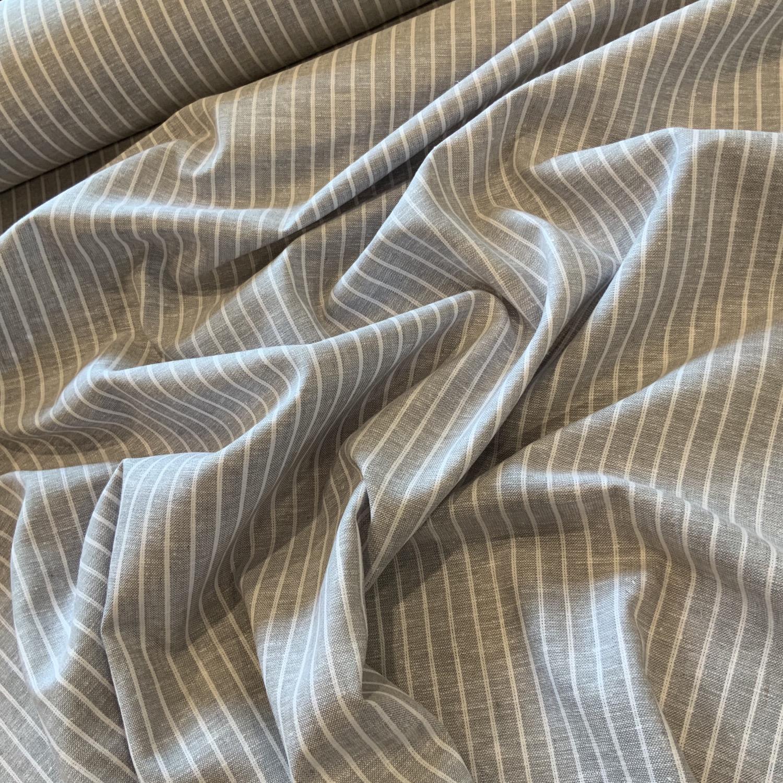 Grey Mist stripe Yarn Dyed Linen Blend....