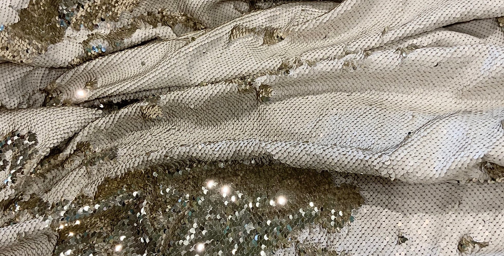 Champagne Gold Reversible Sequin Satin..