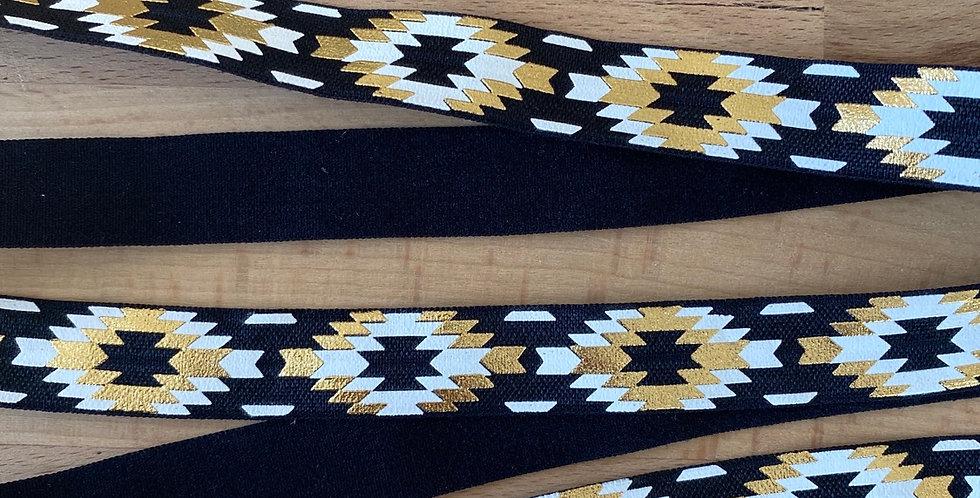 Black Aztec fold over elastic