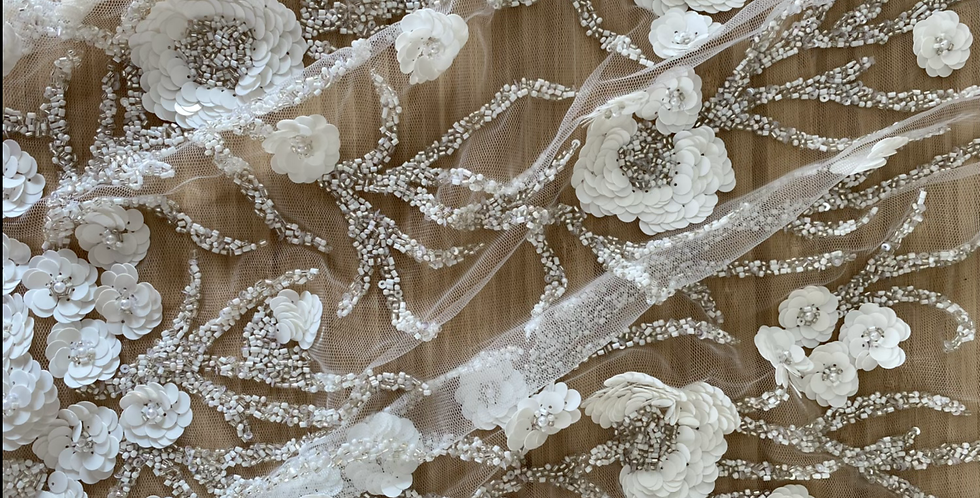 3D beaded flower tulle piece 6