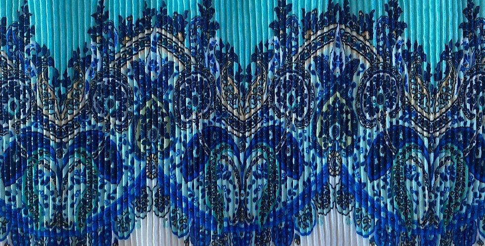 16cm Ocean paisley pleated frill trim
