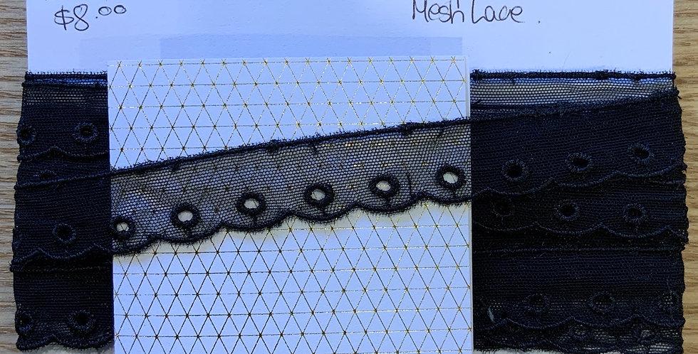 Black Embroidered Mesh Trim...
