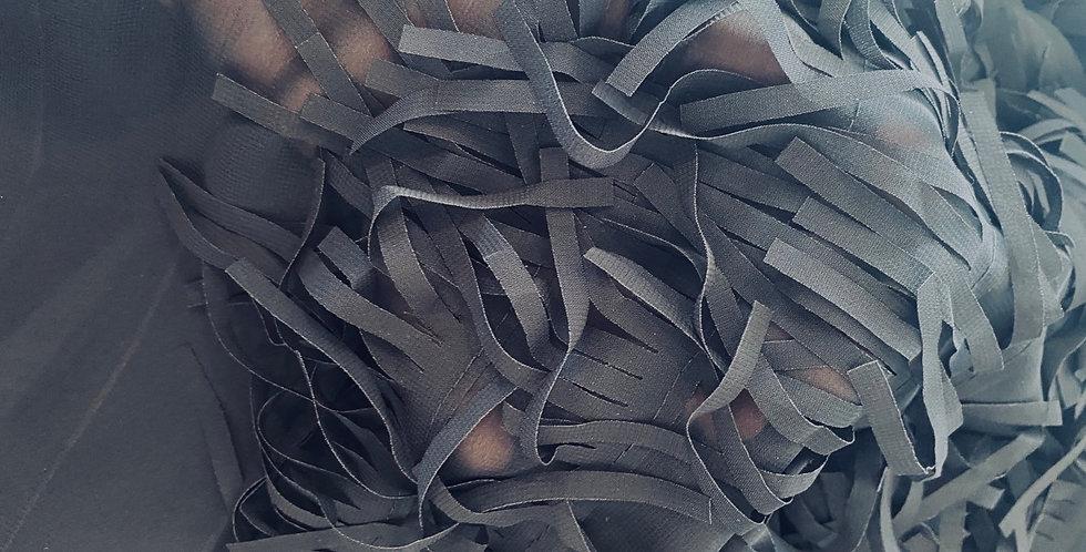 Black fringed georgette