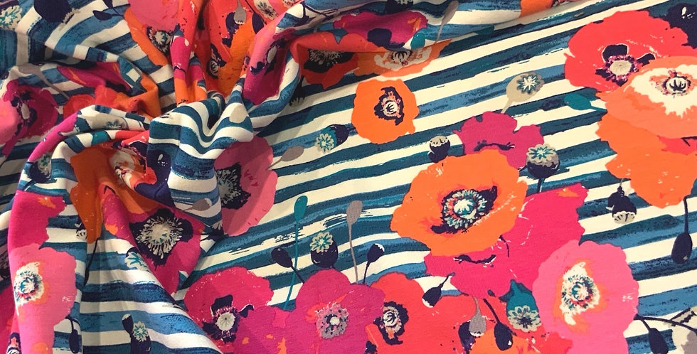 Art Gallery Fabrics PAPAROUNES CRIMSON Knit 50cm piece…