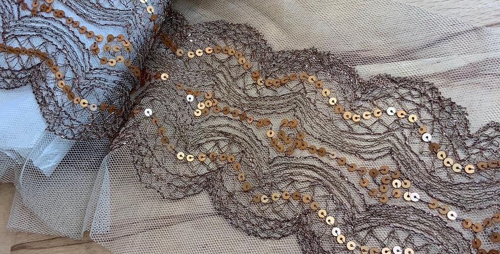 Copper Bronze Embroidered Fine Mesh Trim...