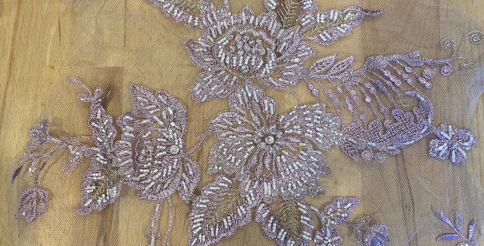 mauve hand dyed motif piece #6013