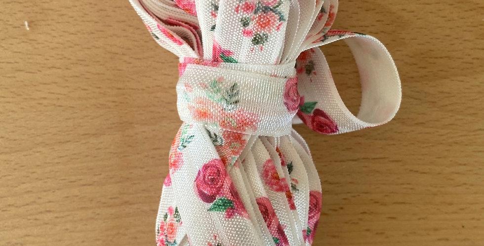 5 metres rose print fold over elastic