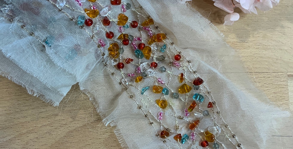Hand Beaded Silk Organza Insertion Trim Remnant
