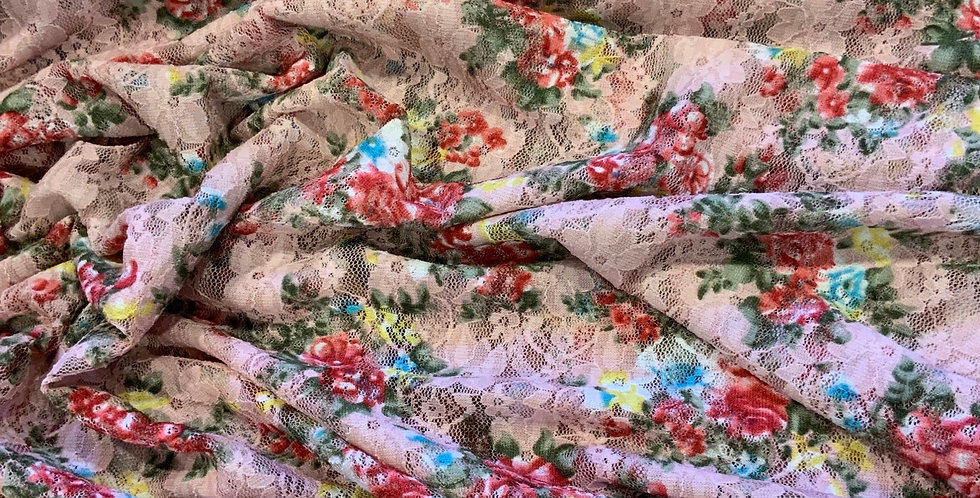 Lulu Pink Floral Stretch Lace small Cut...