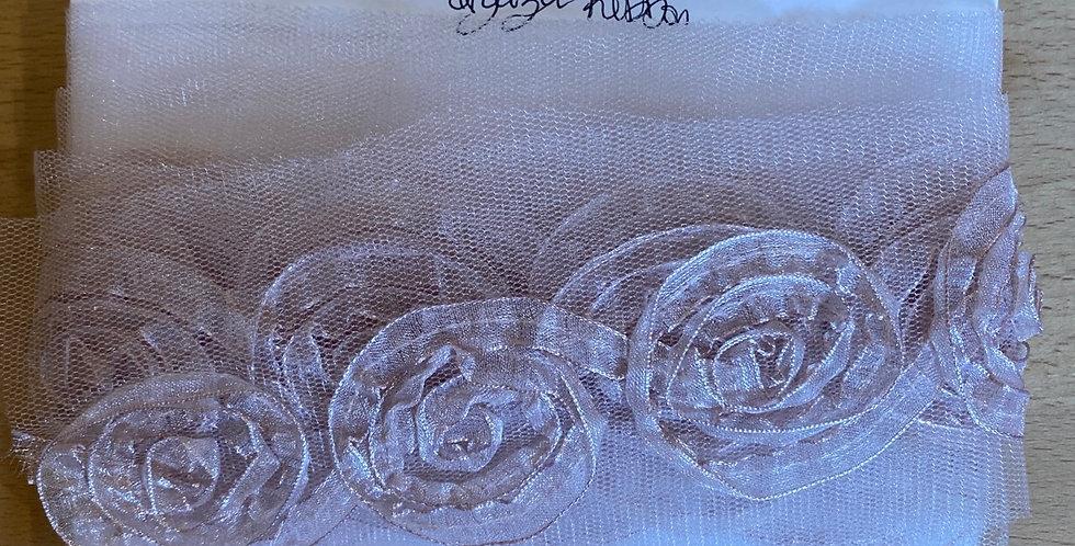Spiral blush flower organza ribbon