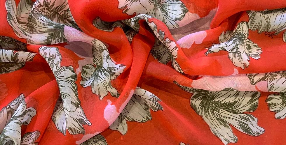Hawaiian Floral Polyester Chiffon Remnant