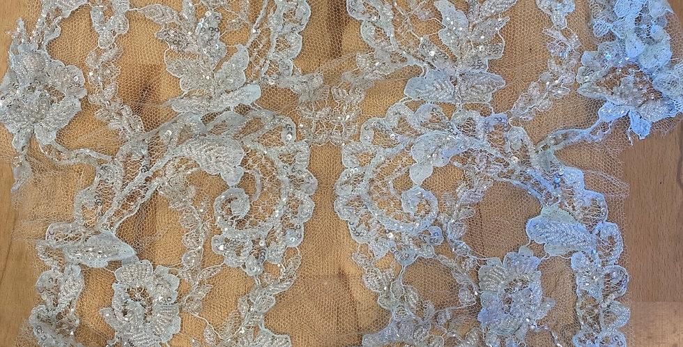 i've blue beaded silk lace piece #6016