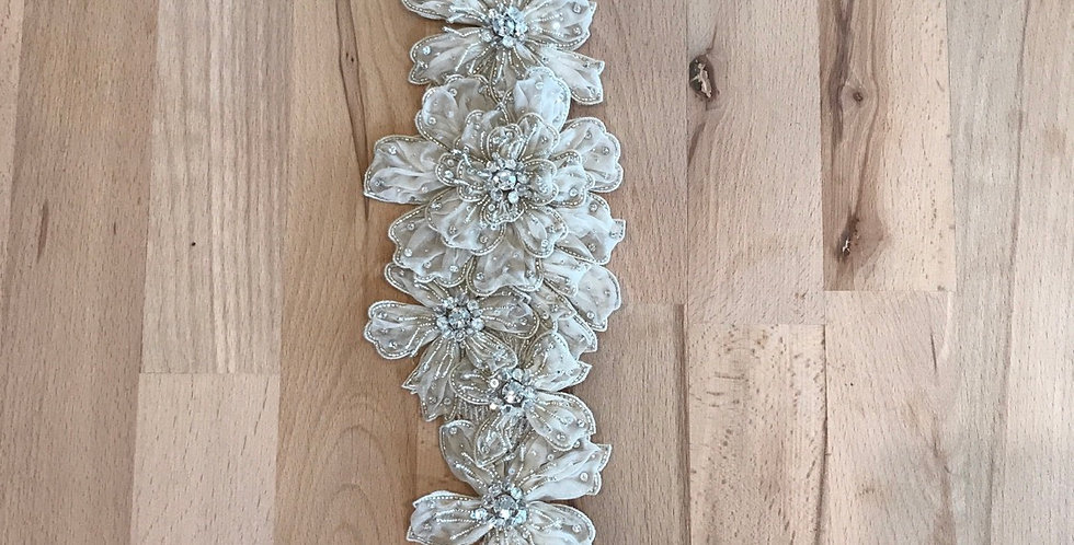 Orica hand beaded silk organza crystal belt
