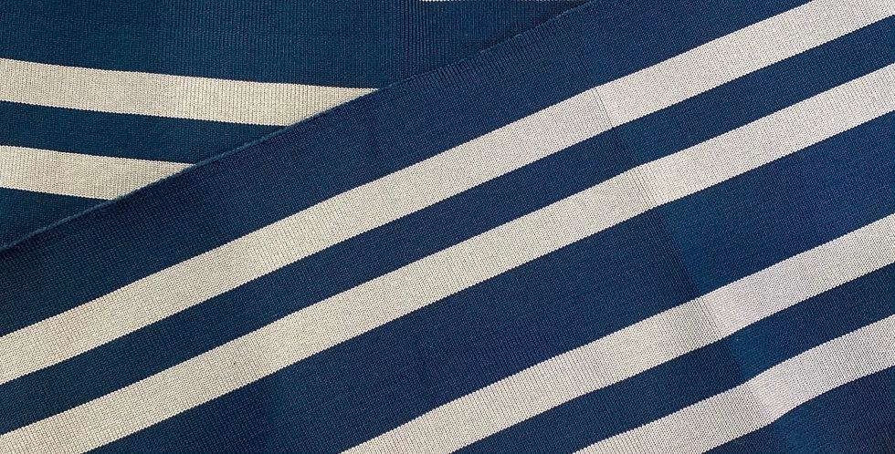 deep teal canal blue stripe viscose rib