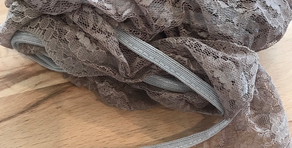Mocha hand dyed ruffle lace remnant