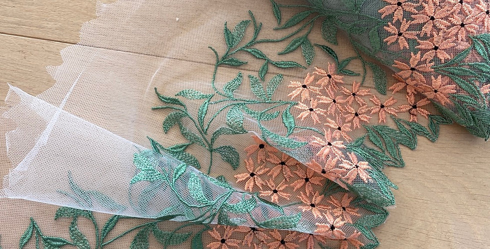 peach fields embroidered mesh