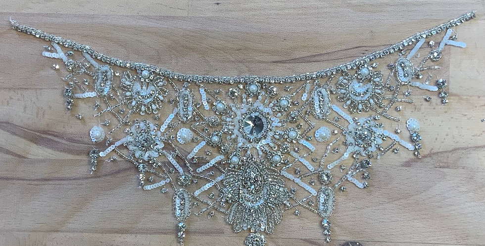 Ivory / Silver Hand Beaded Tulle Piece J9