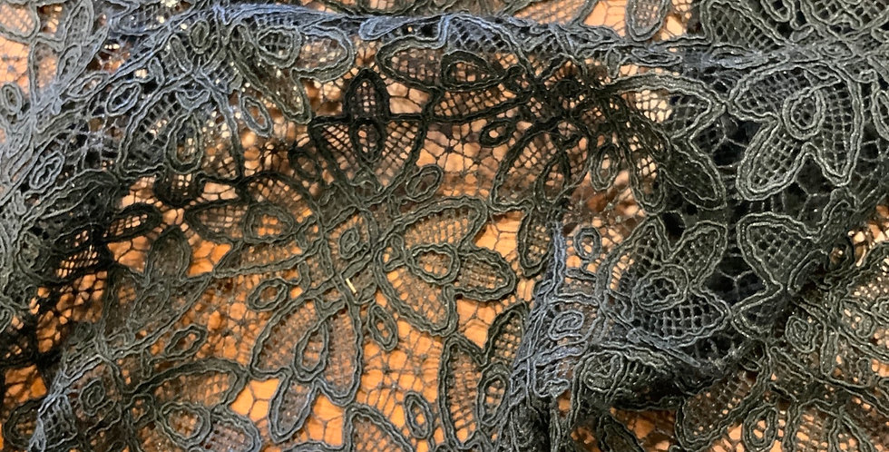Black Star Heavy Corded Lace Remnant