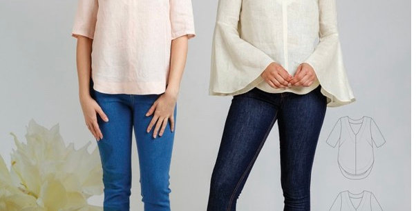 Megan Nielsen dove blouse printed pattern