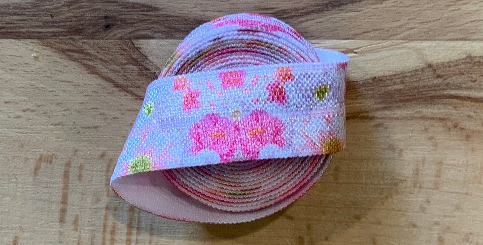 Pink Floral 1.2mtr roll Foldover Elastic