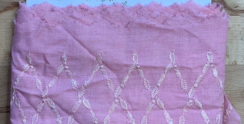 Pink Embroidered Hand Dyed Cotton Lace...