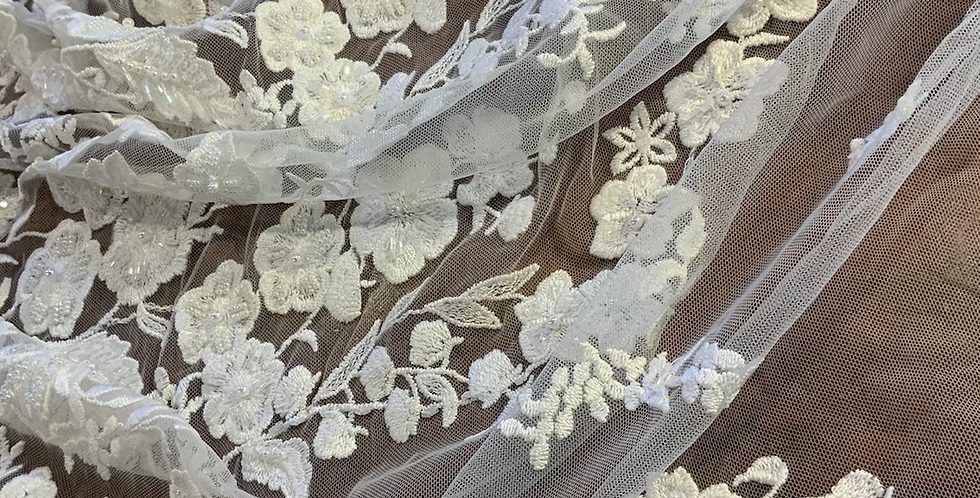 Pale Ivory Bloom Embroidered and Hand Beaded Mesh …