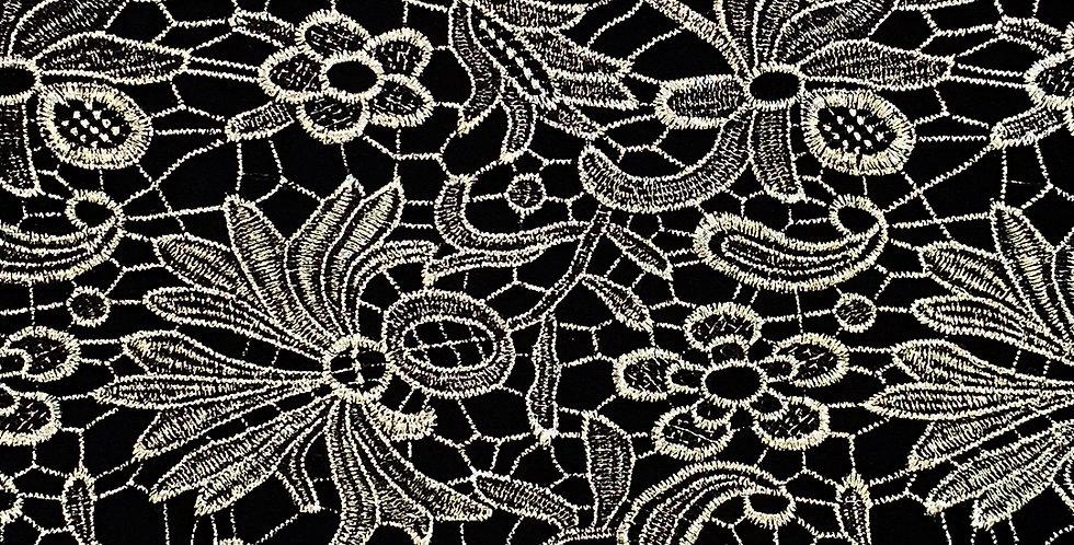 Silver Fans Guipure Lace