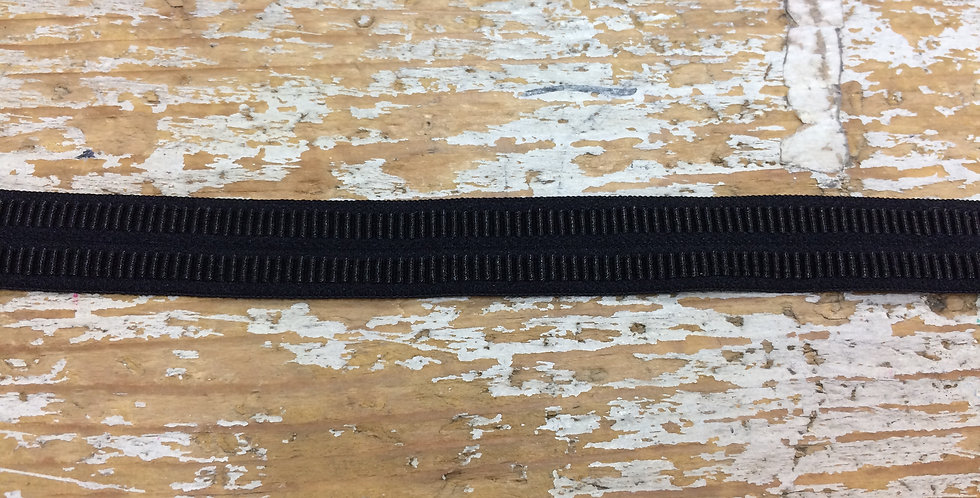 Black Textured Fold Over Elastic