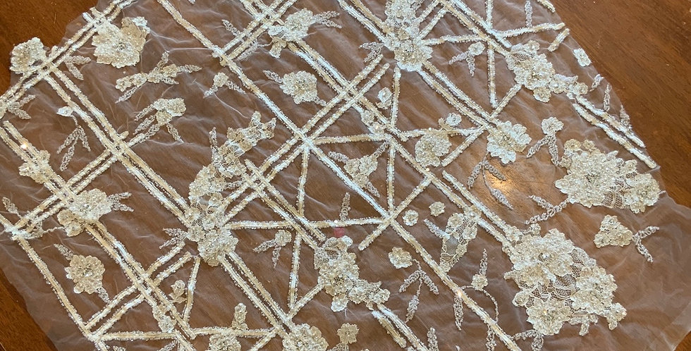 Beaded French Lace Piece #L1