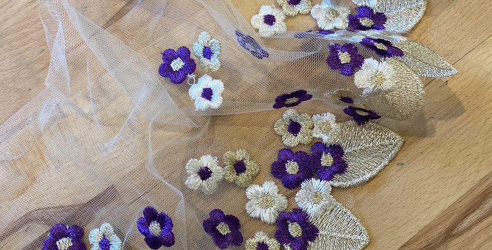 Flower drop embroidered trim purple