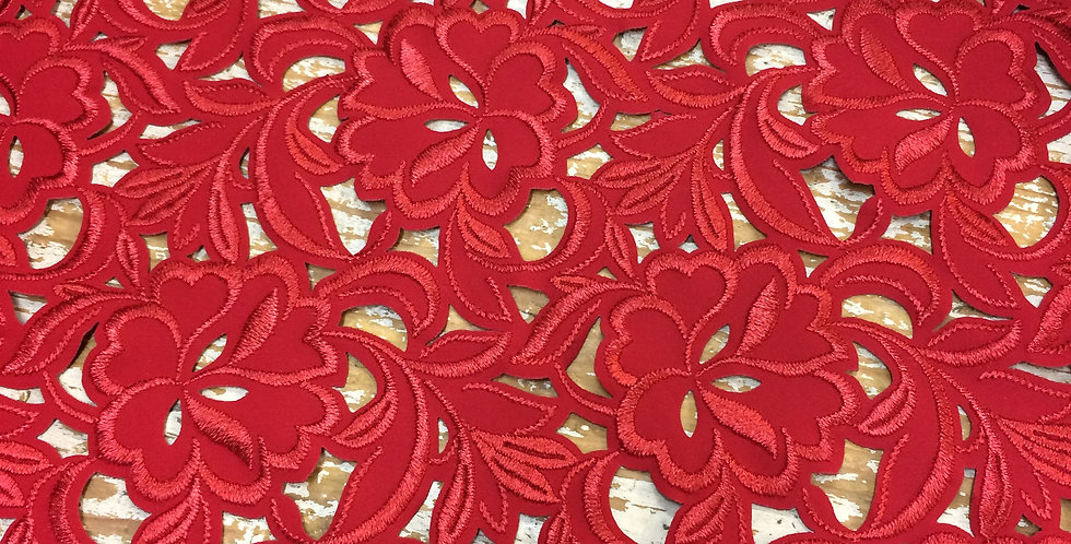 Red Embroidered Stretch Trim