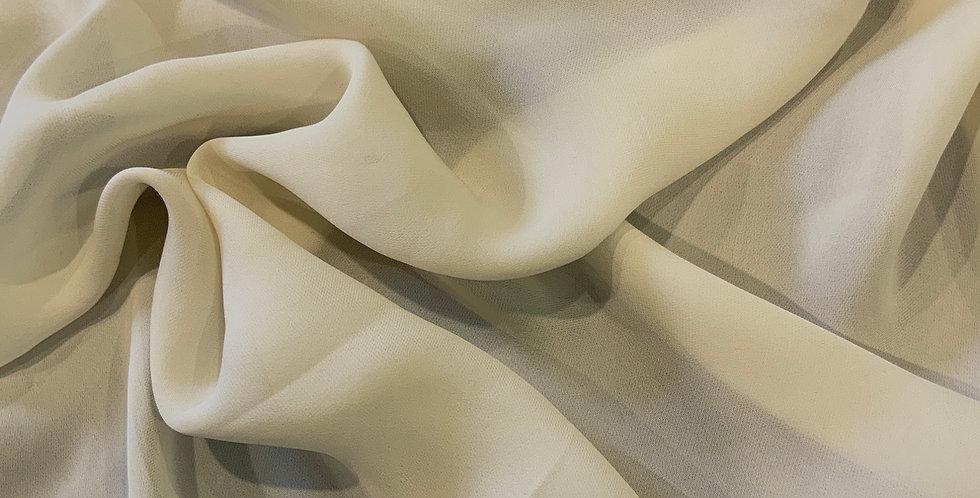 Cream Silk Double Georgette Remnant...