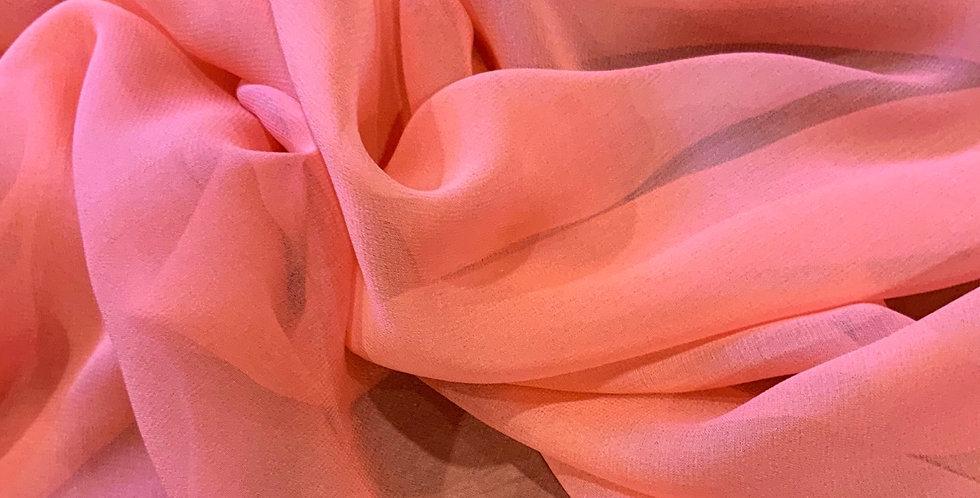 Coral Silk Chiffon