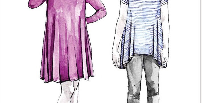 closet core ebony knit dress and top printed pattern