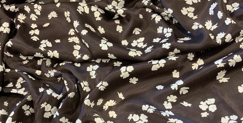 Chocolate  Daisy Meadow De-Lustred Viscose Satin...